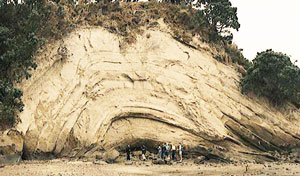 Eastern beach syncline shows radical bending, indicating a short time frame.