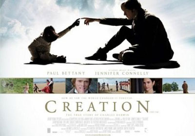 A poster used to promote Creation the film makes it clear what the movie stands for; that mankind is an evolved animal