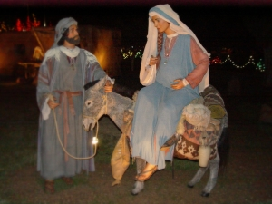 Joseph with pregnant Mary on a donkey