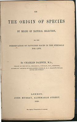 The first edition of Origin of Species was published on 24 November 1859. There were five more editions in which Darwin made multitudinous changes.