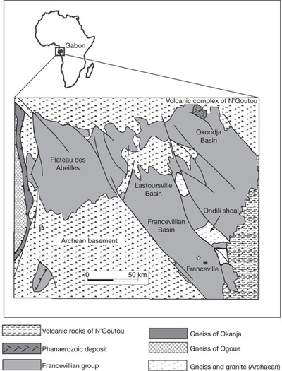 Geologic setting showing the extent of the Francevillian formation in Gabon. The fossils were found near Franceville (marked by star). Note the stratigraphic setting and massive size of the Franceville formation, which suggests it was deposited early in the global Flood rather than more gradually in a deltaic environment, as the researchers propose.