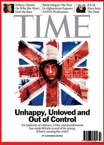 The striking cover of an issue of Time magazine from April 2008.