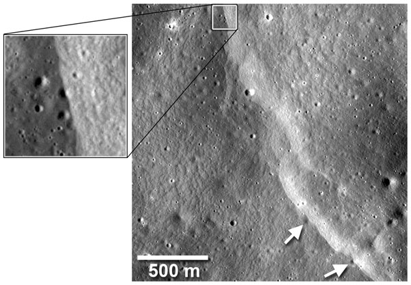 A fault scarp has cut across and deformed several small impact craters (arrows). The fault has carried material up and over the craters, burying parts of their floors and rims. About half of the rim and floor of a 20-m crater (box) has been covered. Small craters are quickly destroyed by newer impacts, so the fault (which is later) is relatively young (from ref. 3). Credit: NASA/Goddard/Arizona State University/Smithsonian