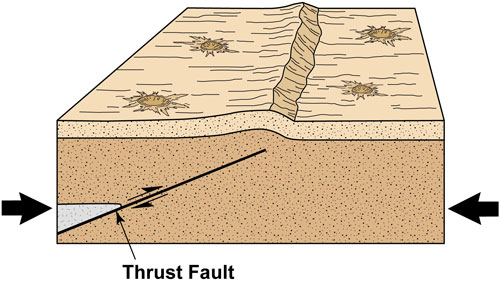 A thrust fault develops when the crust of the moon is compressed. The fault pushes one part of the surface above the rest, creating a steep slope, or scarp (from ref. 3.)