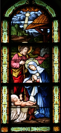Nativity scence stained glass window