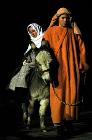 Joseph with Mary on a donkey