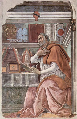 A painting of Augustine by Sandro Botticelli