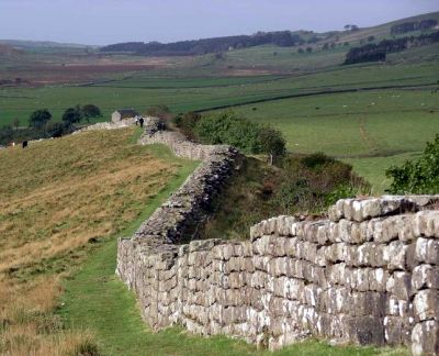 Hadrian's wall just east of Greenhead Lough, Northumberland in October 2005.