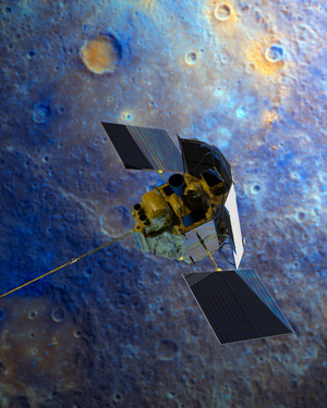 Figure 1. MESSENGER spacecraft shown over colour-enhanced image of Mercury. Magnetometer at end of 12-foot boom to left. Graphics: NASA/Johns Hopkins University Applied Physics Laboratory.