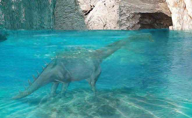 Figure 3: An artist's reconstruction of the animal seen entering an underwater cave on the south side of Ambungi Island.