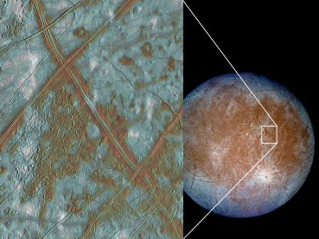 The ice that covers Europa, the tiny moon of Jupiter, is believed to contain sulphuric acid, making exploration by landing probes hazardous.