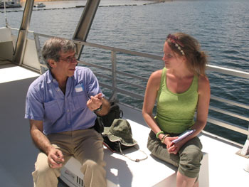 Prof Jerry Coyne and Jojo on the house boat