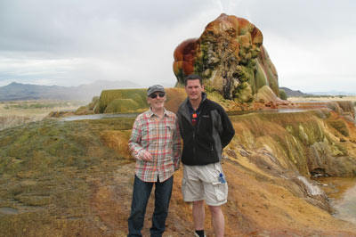Prof Michael Russell and myself at the Fly Geyser