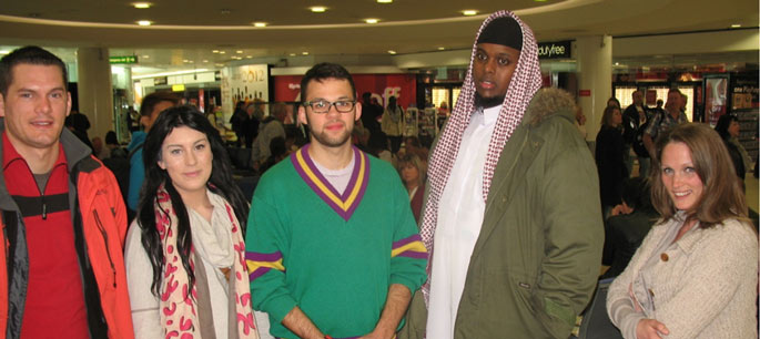 The five participants, Me, Bronwyn, Sam, Abdul and Jojo in Gatwick Airport.