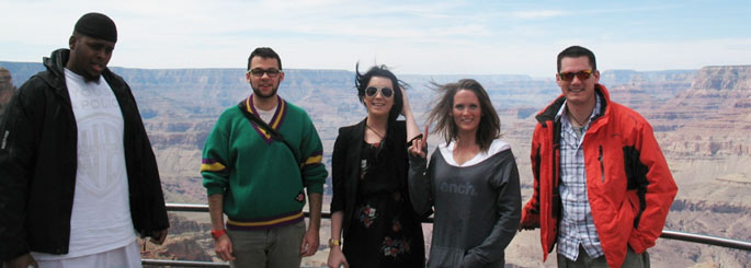 The Grand Canyon – the view from Lipan Point and the five road-trippers.