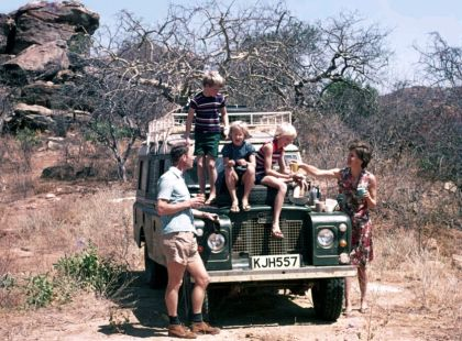 The Gurney family 'on Safari' c.1976, at Torbi, Kenya.