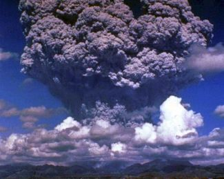 Volcanoes expel huge quantities of ash, blocking the sun and cooling the atmosphere.
