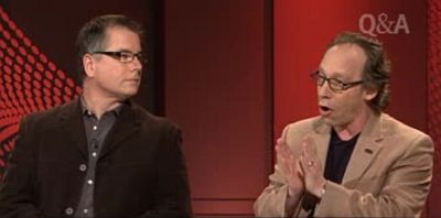 John Dickson (at left) and Lawrence Krauss on the ABC's Q&A program, February 2013. The 'blogosphere' was active for days afterwards as Christians and atheists argued as to who had 'won' on the night.
