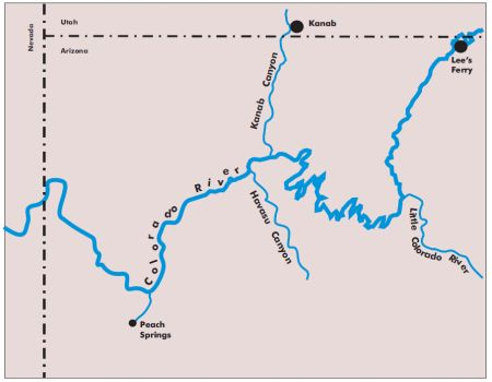 Figure 10. Four long tributary canyons of the Colorado River through Grand Canyon that gradually descend to the level of the Colorado River (drawn by Peter Klevberg).