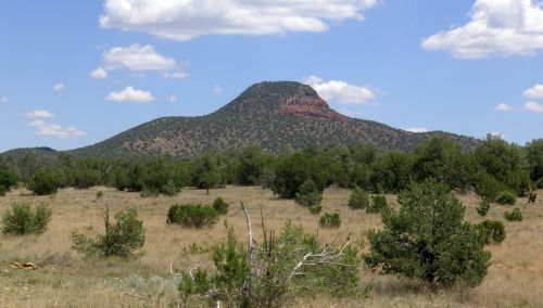 Figure 6. Red Mountain, a 1,000 feet (300 m) erosional remnant on the south rim near Grand Canyon Village.