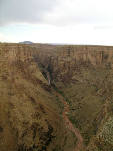 Figure 8. The narrow valley of the Little Colorado River Valley at a scenic overlook at milepost 285.7 on highway 64. The canyon at this point is a slot-like canyon about 365 m (1200 ft) deep.