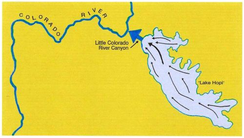 Figure 9. Schematic of theoretical currents in 'Lake Hopi' and the Little Colorado River Canyon. The current would have been strong through the Little Colorado River Canyon because of its slot-like shape but much weaker away from the entrance to the drainage point. Thick arrows show high velocity, and thin arrows show relatively low current velocities (drawn by Peter Klevberg).