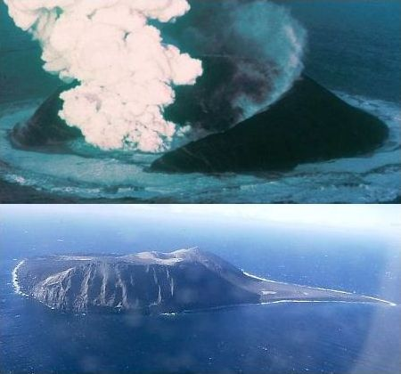 Top: Surtsey shortly after it began erupting in 1963. Bottom: Surtsey in 1999. Notice the many 'old-looking' features on this young 