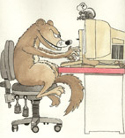 Cartoon of a weasel at a computer, thinking 'Methinx it iz like a human'
