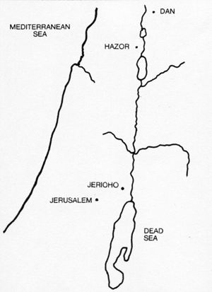 Location map for Jericho and Hazor