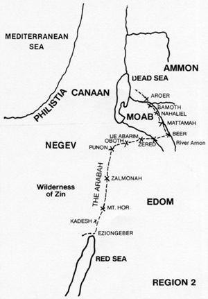 Map showing the journey from the Negev to the River Arnon.