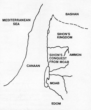 Map showing the territories of Bashan, Sihon and Moab.