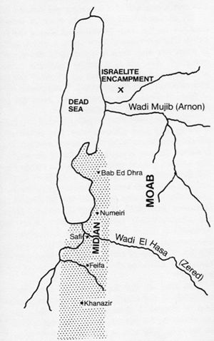 Map showing the location of possible Midianite settlement.
