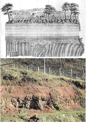 Figure 3. Popular history places Hutton's 'revelation' of deep time at the famous angular unconformity near Jedburgh Scotland. Above is the illustration by John Clerk (1787) and below is a recent photograph (2003—Keith Montgomery). However, we now know that Hutton's timeframe was derived deductively from his model of Earth history.