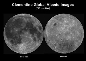 The near and far side of the moon.  Clementine Space Craft, JPL
