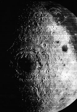 1967 photograph of the Mare Orientale region made by NASA's Lunar Orbiter 4.  Mare Orientale is on the far side of moon and is 1,000 km in its outer diameter.