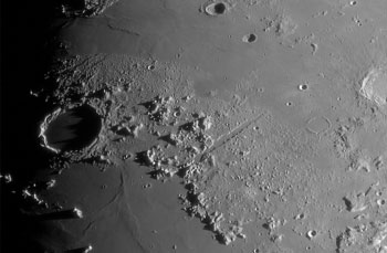 Small secondary craters in the area of Plato.