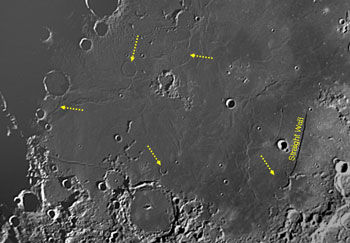 Ghost craters near mare Nubium in the region of the Straight Wall.