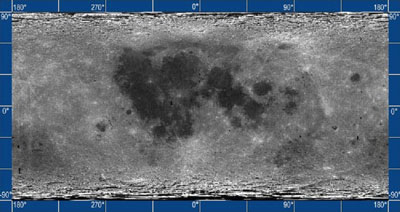 Full surface map of moon.  Clementine Space Craft, JPL.