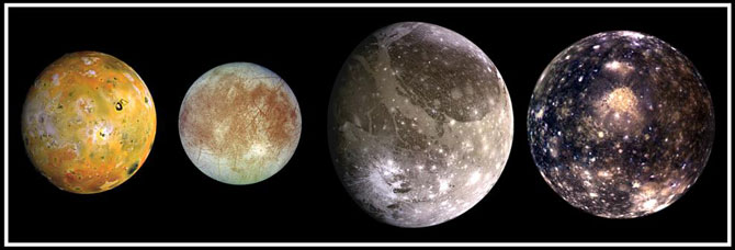 Jupiter's biggest moons, descovered by Galileo: from left to right, Io, Europa, Ganymede and Callisto.