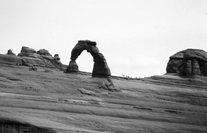 Delicate Arch, Arches National Park. Uniformitarian geologists estimate that this arch took 70,000 years to form but rapid erosion by retreating floodwaters during Noah's Flood would have carved the arch quickly.