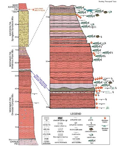 Stratigraphic section of the Moenave Formation at the St George Dinosaur Site