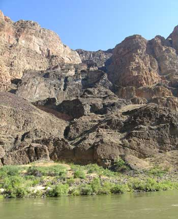 Figure 2. Basalt lava flow that started from near the northwest rim of Grand Canyon and flowed down into Grand Canyon blocking the Colorado River for a short time.