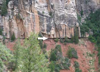 Figure 4. The contact between the Coconino Sandstone and the underlying subjacent Hermit Shale below (arrow) from the North Kaibab Trail. Ten million years are missing at this widespread, dead flat contact.