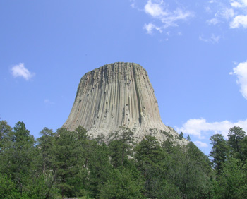 Figure 1. Devils Tower in northeast Wyoming, United States. Note the vertical fractures, called joints, that should result in rapid erosion from the freeze-thaw mechanism.