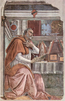 Augustine, a church father who believed in a young earth, (painting: Botticelli, c. 1480).