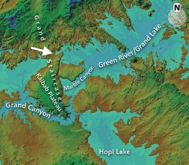 Figure 1. A Digital Elevation Model of the Grand Canyon region with an artificially raised water level. It shows the contours of the lakes that could have 