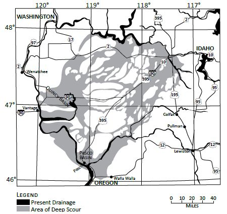 Figure 4. The multi-channeled and parallel structure of The Channeled Scablands in north-west US is quite different from the Grand Canyon. The channels do not  exhibit the branching structure evident with the Grand Canyon.