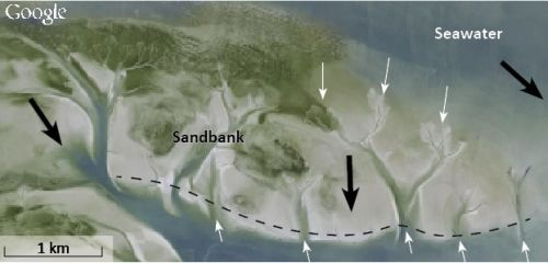 Figure 7. The Wadden Sea in the Netherlands, a tidal area with sandbanks, illustrates how the daily tides cut through the higher points in the sandbanks to 