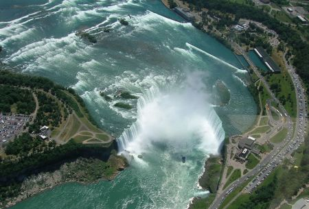 Figure 9. The Niagara Falls illustrates how steady erosion by a constant flow of water produces a U shape. Erosion of the Falls is in the opposite direction to  the flow of water.