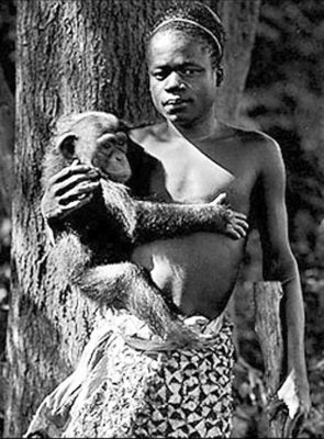 Figure 1. Evolutionary belief was the motivation for forcing Ota Benga into a monkey's cage as an exhibit in a zoo. Photo taken in the fall of 1906.